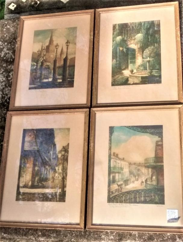 Vintage Illinois Central Railroad Promo Prints New Orleans Mettel Set/4