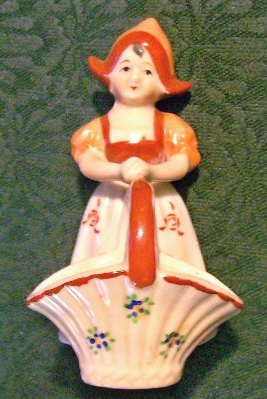 Occupied Japan Dutch Girl w/ Open Basket Ceramic Figurine 4.5