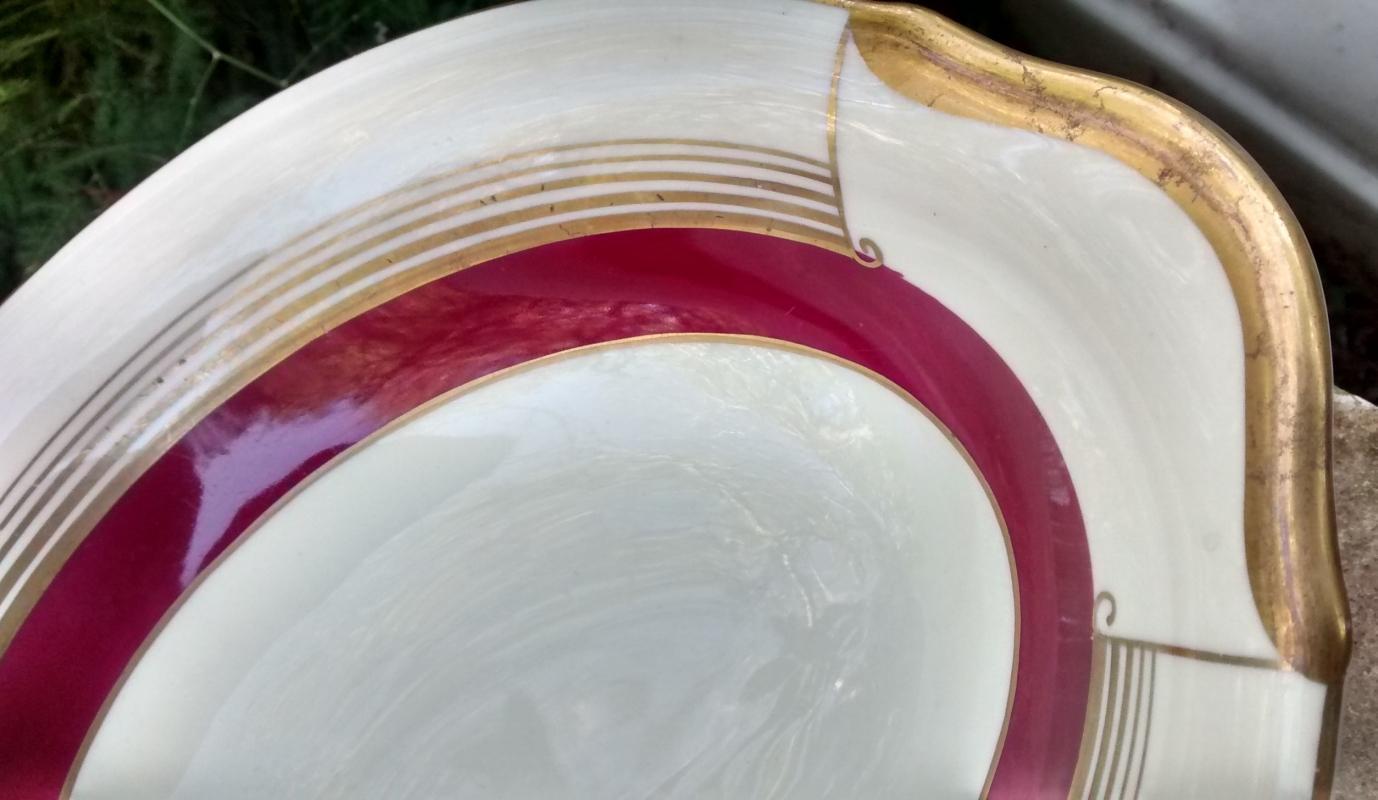 Vintage Warwick #107 Oval Bowl Burgundy Red 5 Gold Bands 9.5