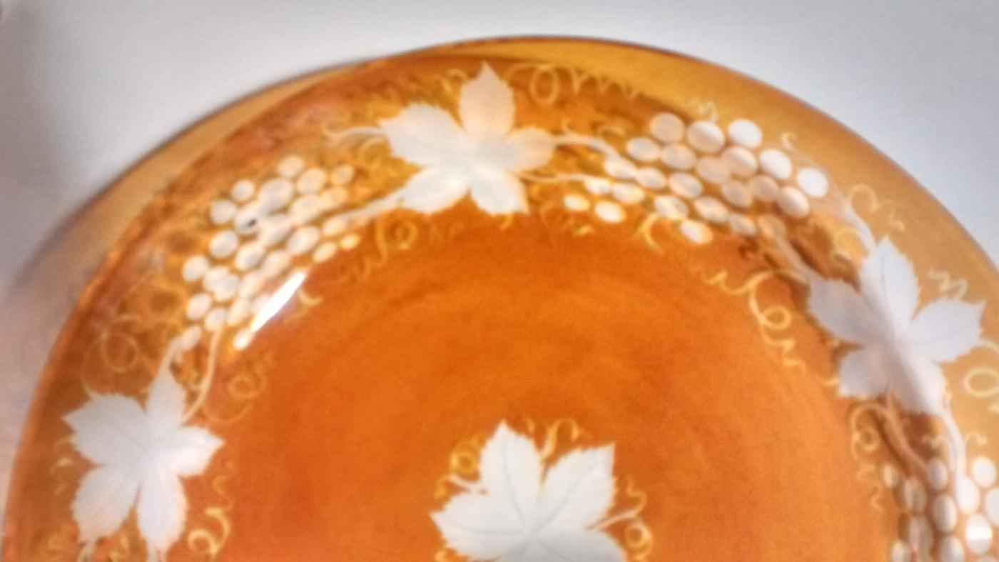 Antique Amber Bohemian Glass Bowl Engraved Grapes/Vines 7.5