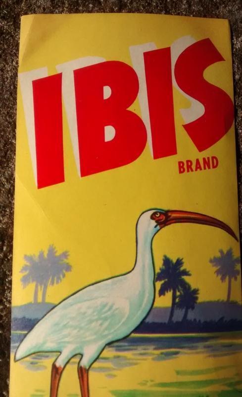 Vintage Florida Citrus Fruit Crate Label Ibis Brand Minute Maid 1930s Rare Original