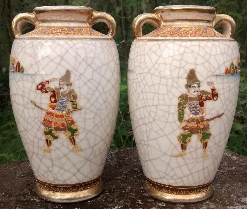 Antique Satsuma Porcelain Vase Pair Mirror Image Warrior/Woman with Flute 7.5
