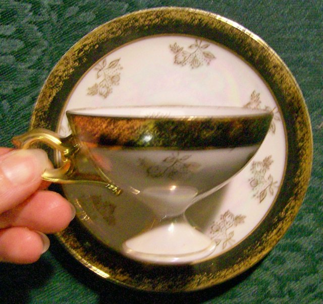 Ceramic Pedestal Cup & Saucer Black/Gold/Luster Japan 1950s