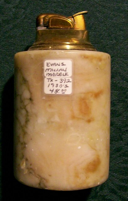 Evans Table Lighter 1930's Italian Marble NO SPARK AS IS 4.25