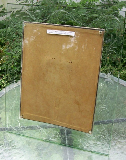 Antique Engraved/Cut Glass Picture Frame Large 16x19 Easel-Back 1920's