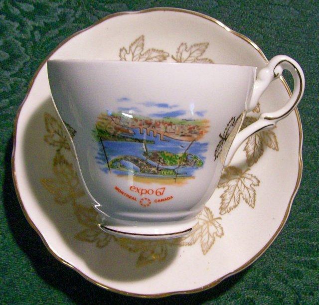 EXPO 67 Souvenir Bone China Cup & Saucer Montreal Canada Royal Darwood England
