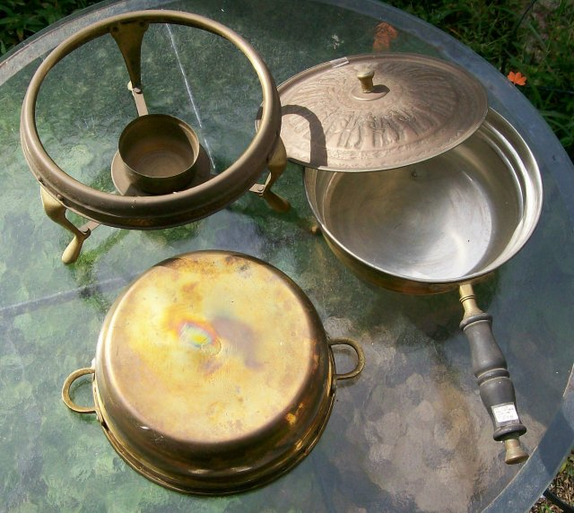Vintage Persepolis Brass Chafing Dish with Stand Middle Eastern
