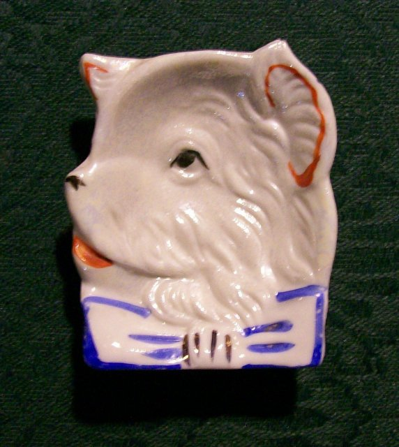 Vintage Luster Terrier Dog Ashtray Japan 1930's