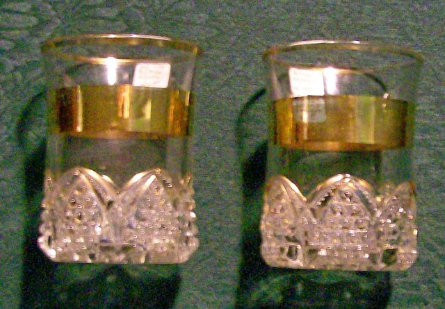 Duncan Button Arches Early American Pressed Glass Tumbler Gold Band