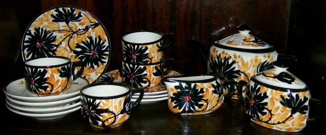 Vintage Schramberg Irma Tea Set 1920's Black/Orange Flowers German Ceramic 15 Pcs