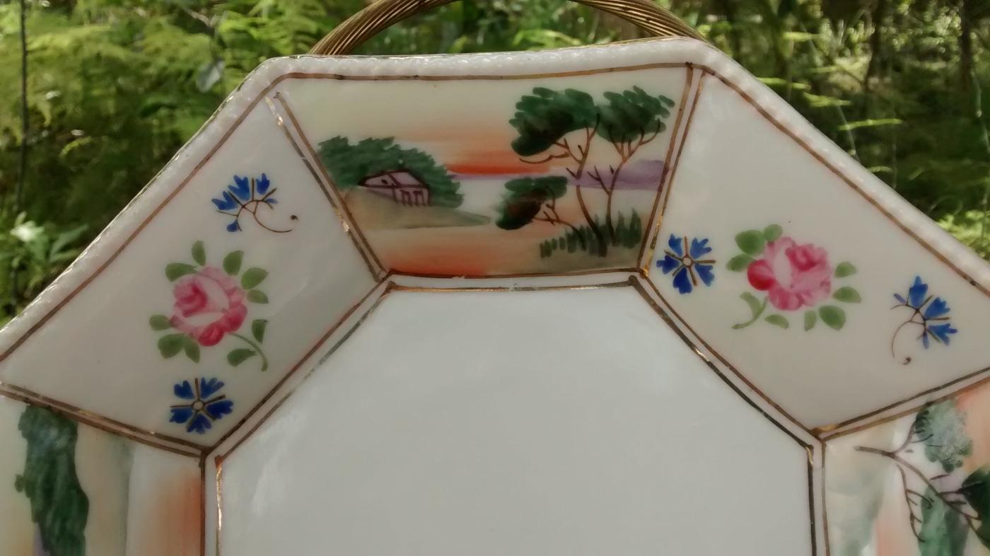 Nippon Hand-Painted Octagonal Dish Landscape/Floral 1891-1921