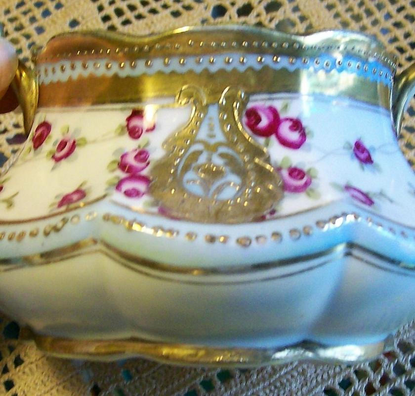 Antique Noritake Nippon Gold Encrusted Cream & Sugar Set