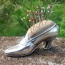 Antique Sterling Silver Shoe Pincushion w/Pins Gorham 1909