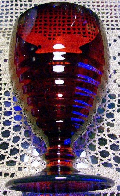 Vintage Paden City Penny Line Goblet Ruby Red Glass 5 1/8