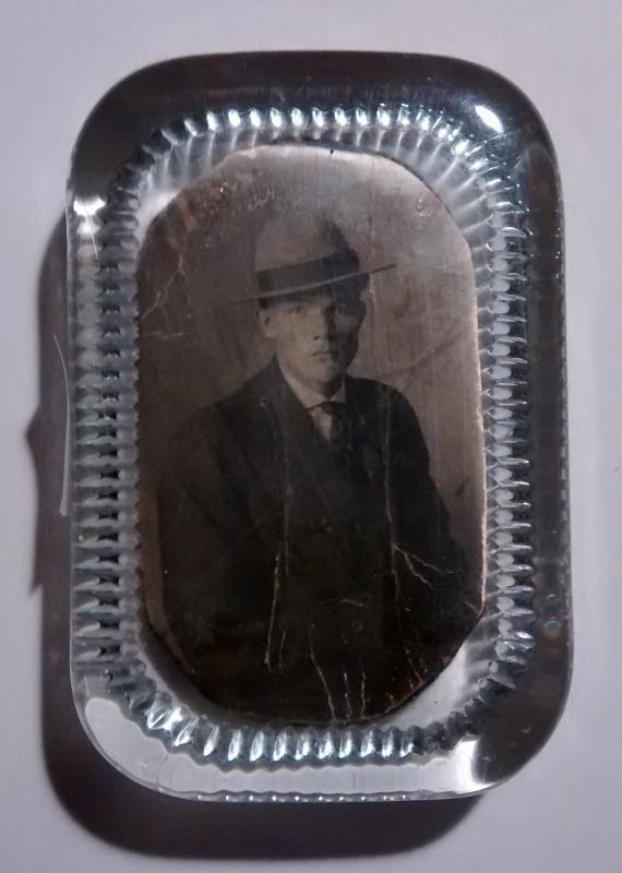 Glass Paperweight Photo of Man Inset Early 1900s