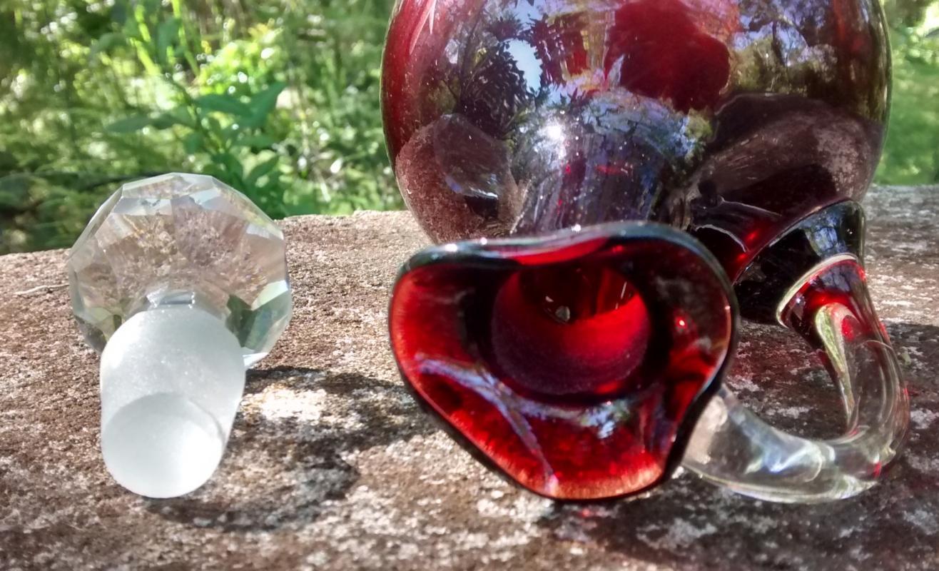 Antique Bohemian Ruby-Cut-to-Clear Cruet w/Stopper Victorian Era