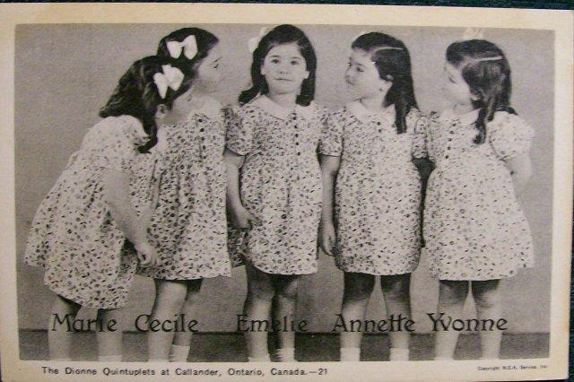 Dionne Quintuplets Postcard #21 Midwife J. Lebel  Autograph 1930s Unused