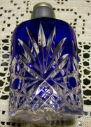 Bohemian Crystal Perfume Atomizer Bottle Only Cobalt Cut-to-Clear