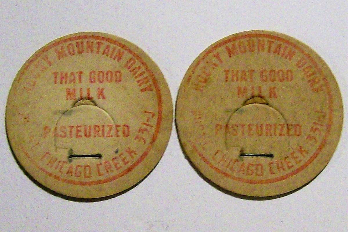 Rocky Mountain Dairy Milk Cap Pair Red Print CB 1.625