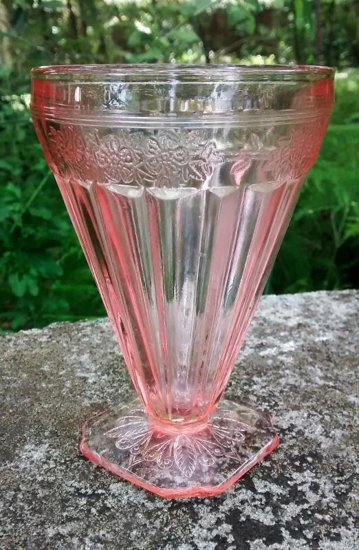 Vintage Jeannette Adam Footed Tumbler Pink 7 Oz. 1932-34