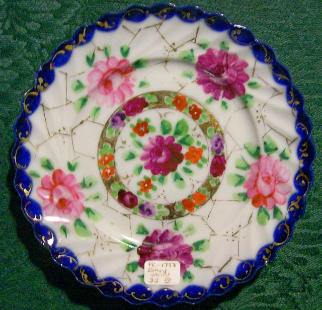 Nippon/Japan Plate Hand-Painted Flowers/Cobalt/Gold