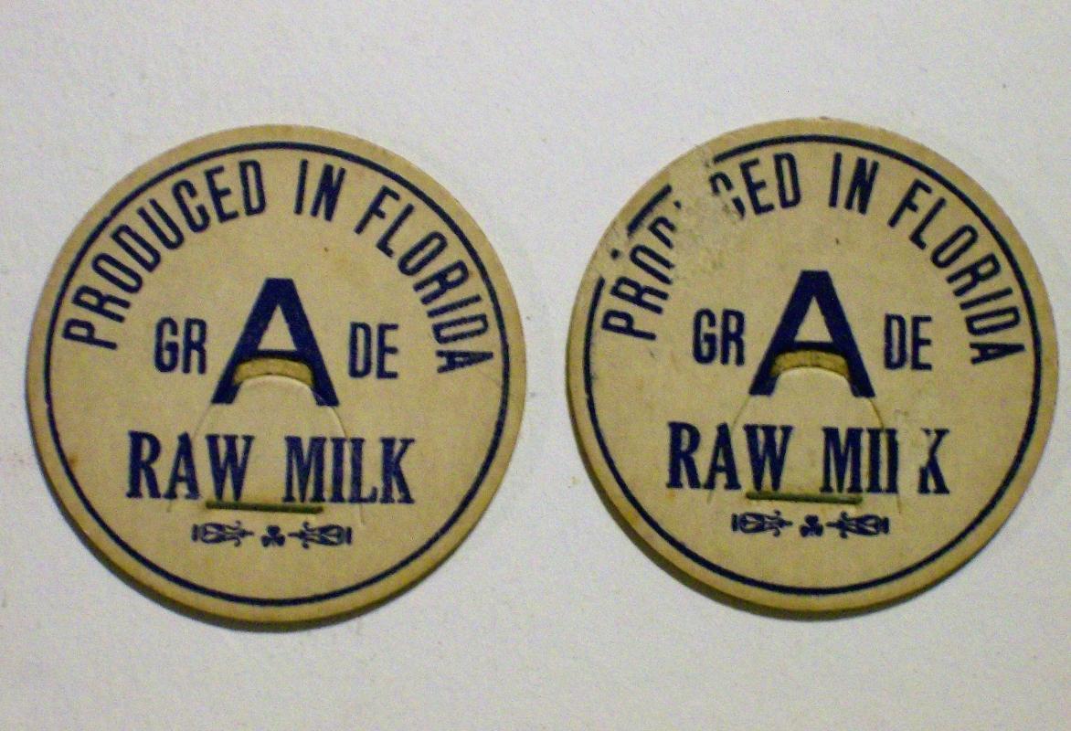 Florida Dairy Milk Cap Pair Early-Mid 1900s Cardboard Unused