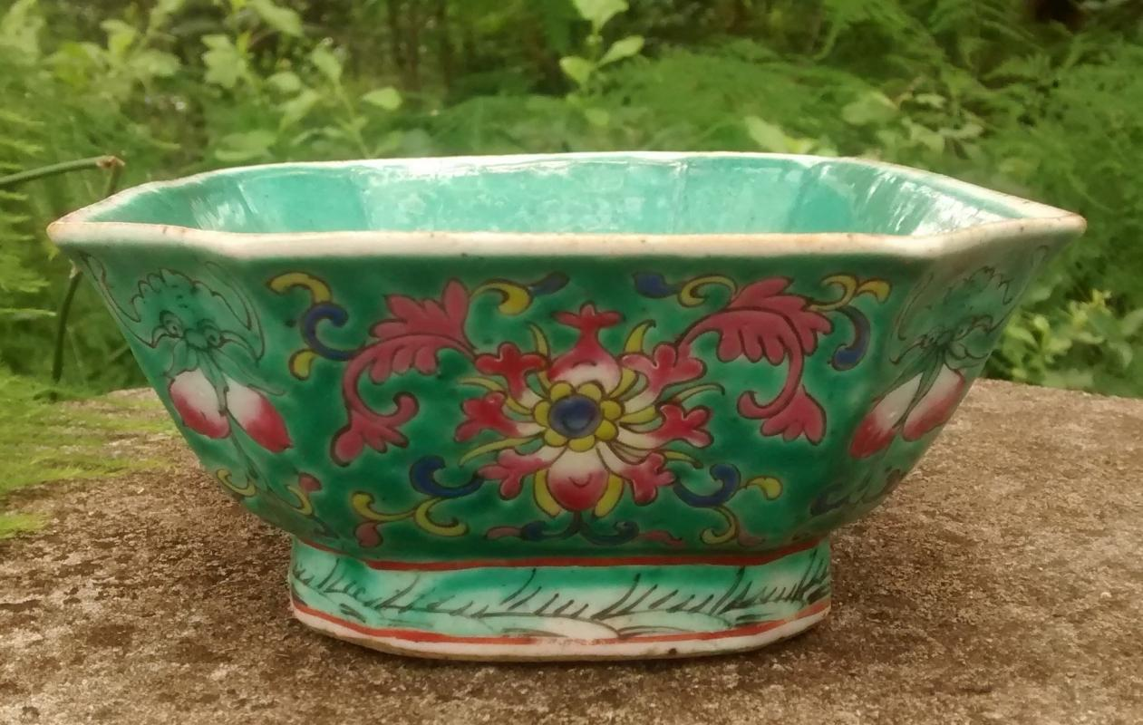 Antique Straits Chinese Footed Dish Turquoise Incised Flowers Red Seal Mark