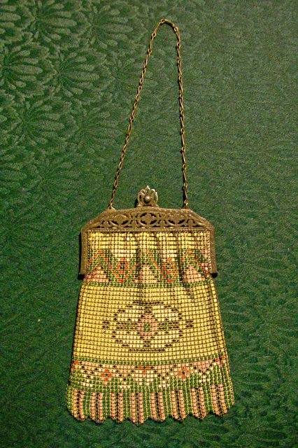 Antiques Great Art Deco Mesh Purse With Geometrics And Enamel Detail Signed Whiting Davis