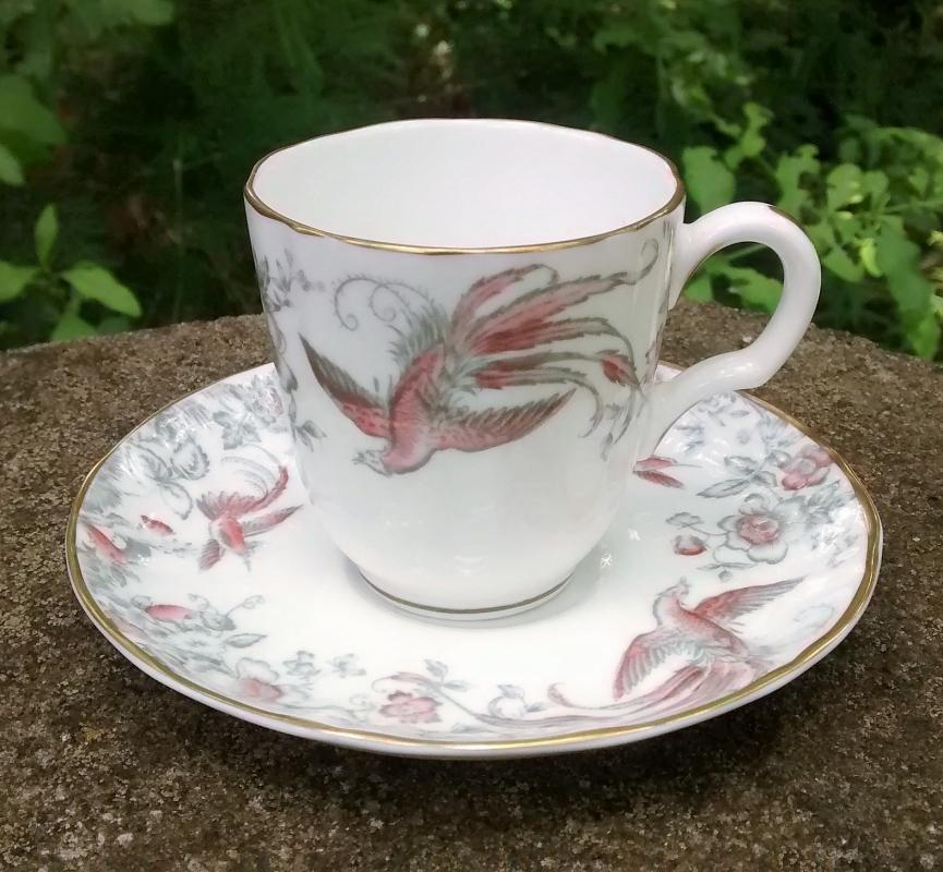 Vintage Royal Worcester Lakme Demitasse Cup & Saucer Pink/Gray 1958-61