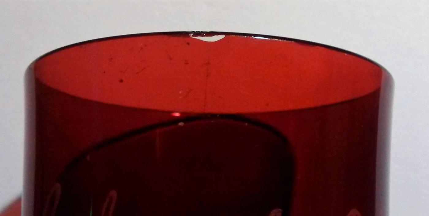 Antique Duncan Button Arches Ruby-Flashed Souvenir Tumbler Schuyler Nebraska Ca. 1897