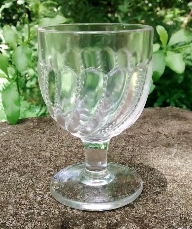 Beaded Swirl EAPG Wine 1890s 3.5