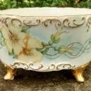 Antique Limoges Ferner/Planter Yellow Flowers/Gold 8.5