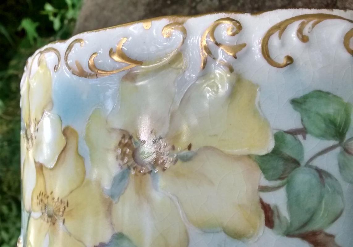 Antique Limoges Ferner/Planter Yellow Flowers/Gold 8.5