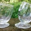 Vintage Glacier Express Railway Slanted Wine Glass Pair Swiss Alps 1980s