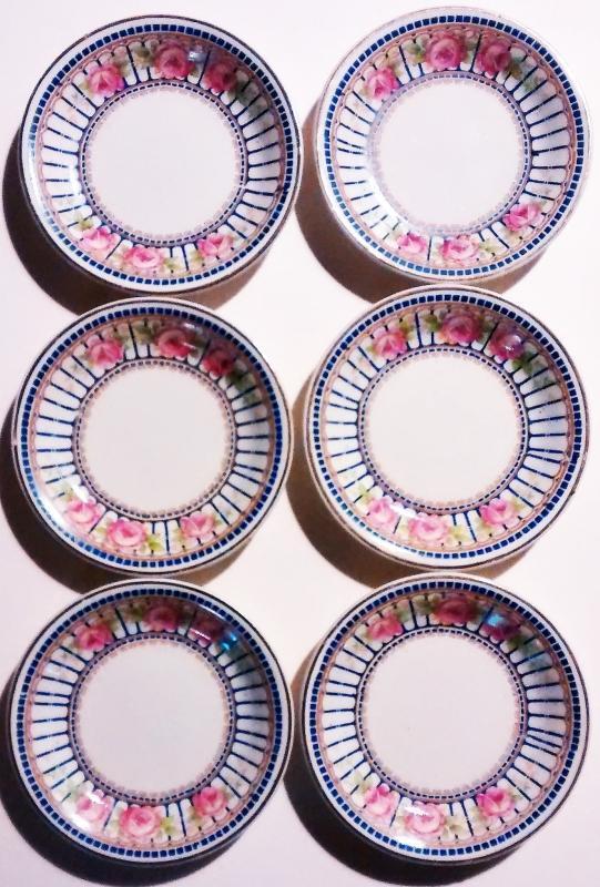Antique Grindley Butter Pat Set/6 GRI131 Pk Roses/Blue Bars/Squares