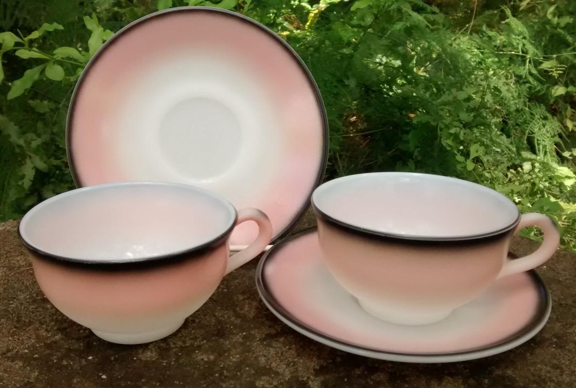 Vintage Hazel Atlas Ovide/Informal Charcoal Black/Pink Cups & Saucers Set/2 1950s