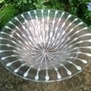 Vintage Higgins Art Glass Bowl Classic Line White/Gold Spinner 12