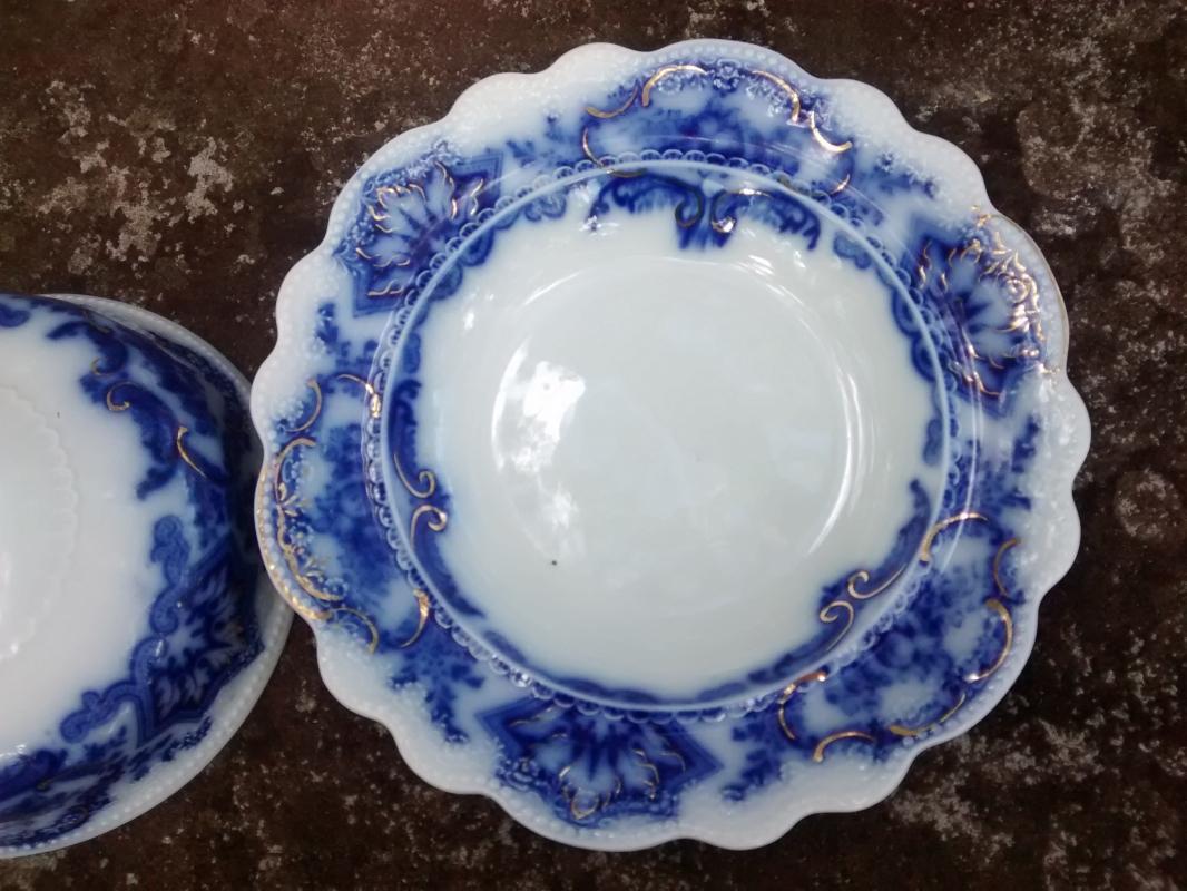Antique Alaska Flow Blue Butter Dish w/Cover Gold Trim Grindley England