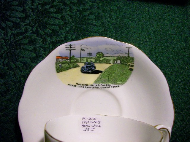 Magnetic Hill NB Canada Bone China Cup & Saucer Souvenir Ca. 1950
