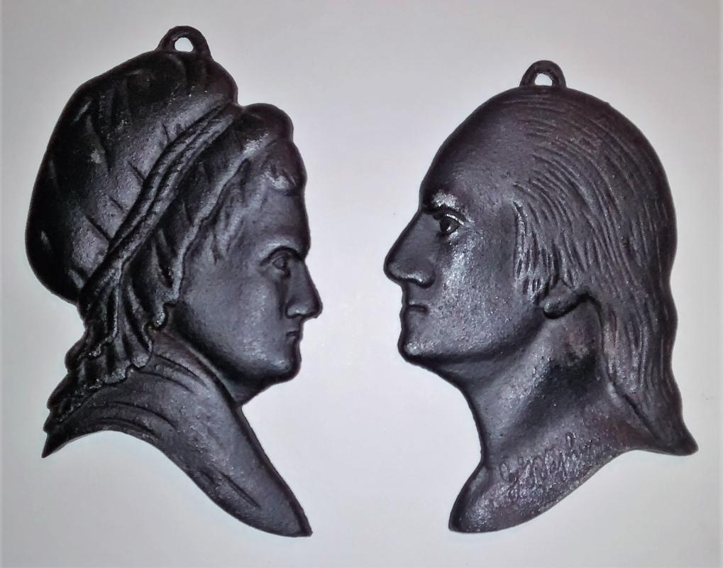 Vintage Virginia Metalcrafters Cast Iron Silhouette Plaque Pair George & Martha Washington