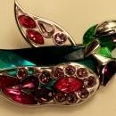 Vintage Swarovski Crystal Bird Brooch #276839 Parrot Signed