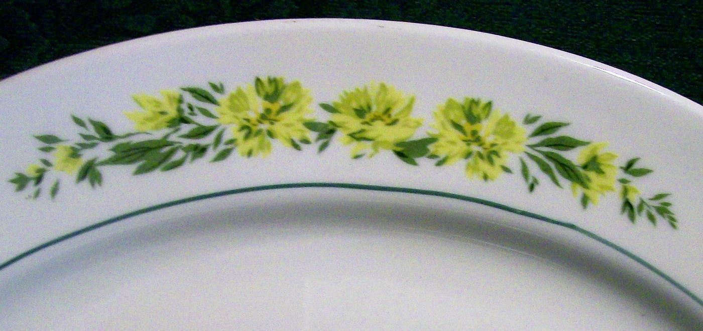 American Dinnerware Yellow Flower Garland Platter Green Verge 13.75