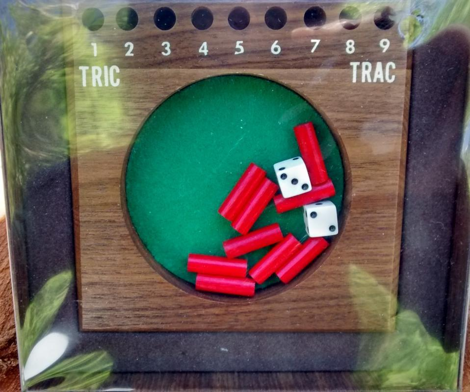 Drueke Tric Trac Game w/Box Walnut Complete