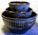 Antique Ransbottom Mixing Bowl Set 3-Piece Brown Drip-Glaze Stoneware