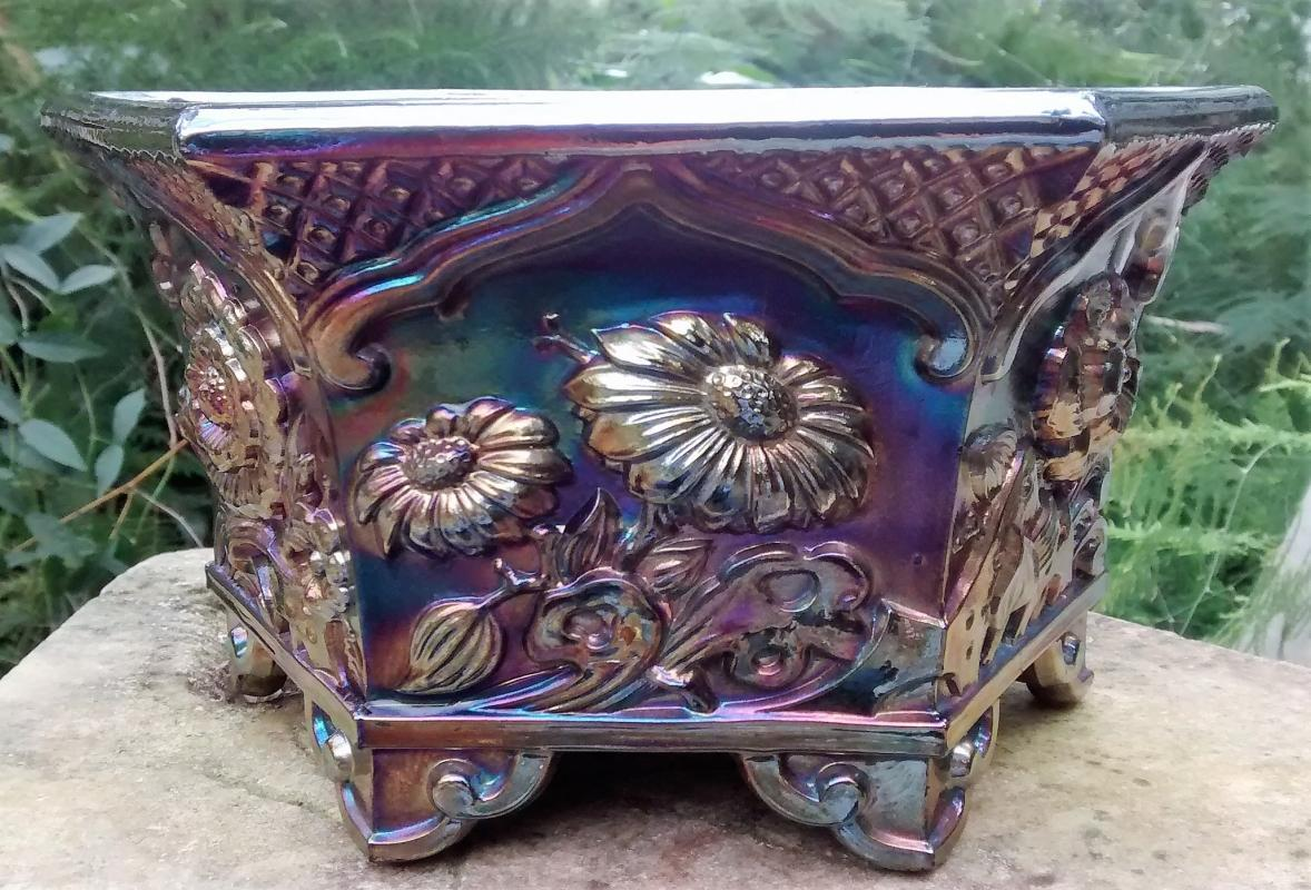 Fenton Carnival Glass Planter #8226 Chrysanthemums