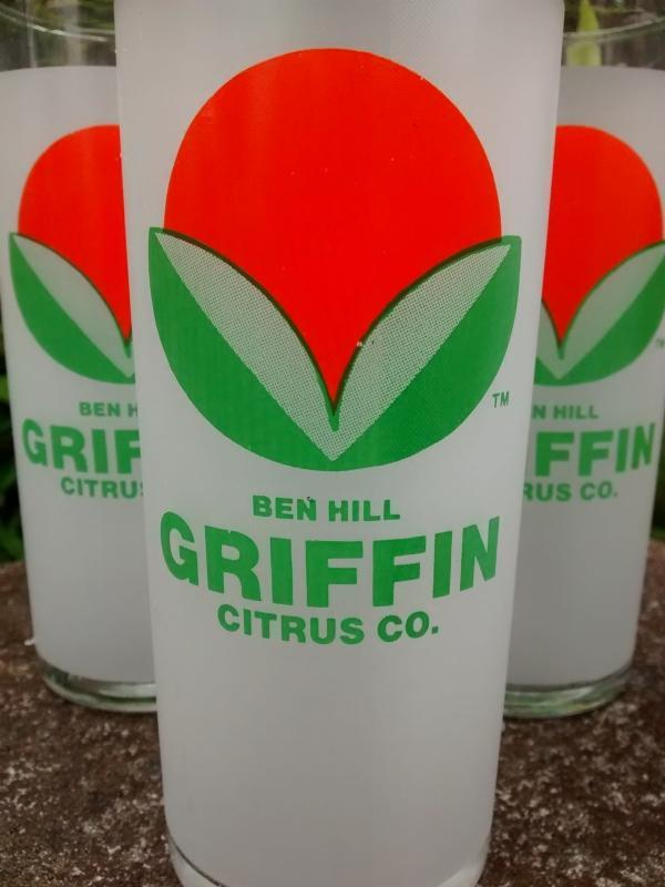 Ben Hill Griffin Citrus Company Glass Tumbler Set/4 Frostproof Florida