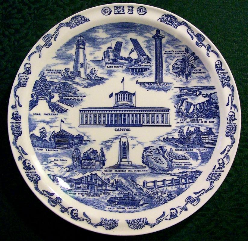 Vintage Vernon Kilns Ohio Souvenir Plate Blue & White 10.5