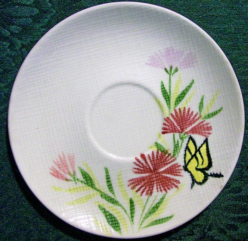 Vintage Red Wing Pink Spice Saucer Set/4 HP Butterfly/Flowers MCM