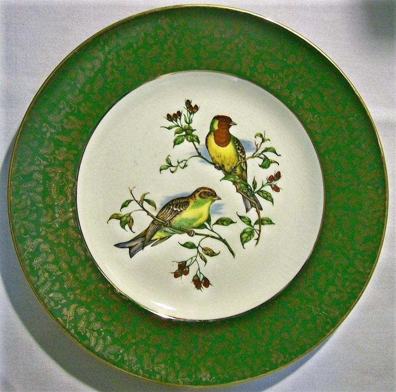 Vintage Alpine White Bird Plate Wood & Sons England 10