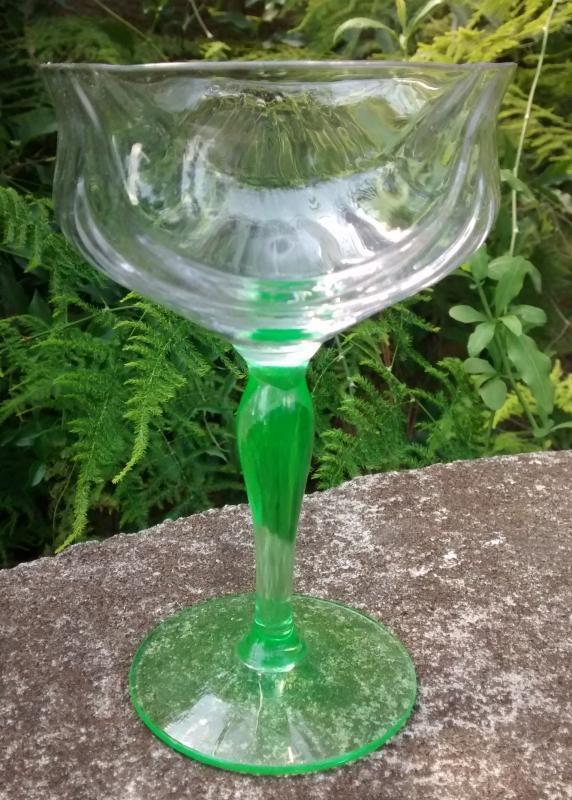 Vintage Tiffin Festoon Optic Green Champagne/Tall Sherbet Set/4 #14199 Bicolor 1920s-30s